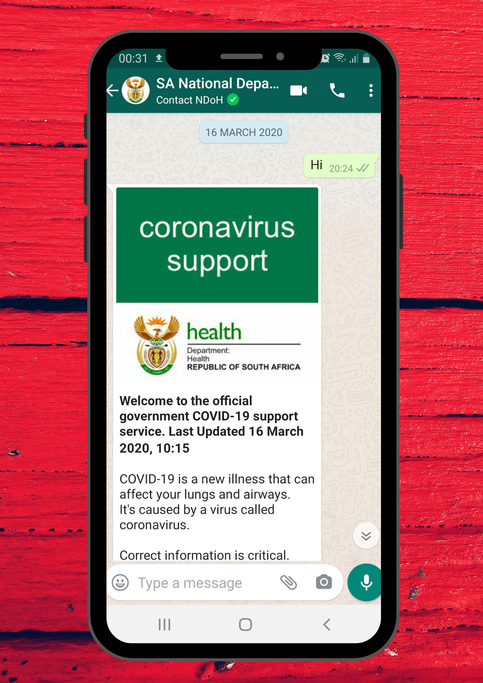 """Stay informed on #COVID-19 by joining the South African Support WhatsApp Group. Send """"Hi"""" to 0600123456"""